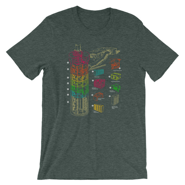Nuclear War T-shirt Missile Silo Diagram Rainbow Print Graphic Tee