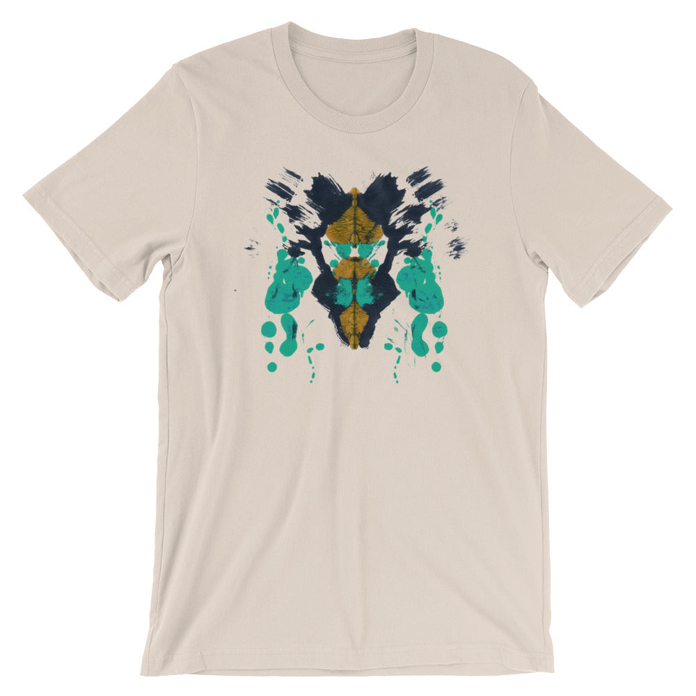 Ink Blot Psychology T-shirt Rorschach Test Science Abstract Art Creative Tee tan babbletees