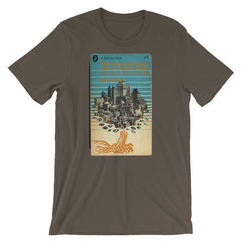 Midcentury Penguin Book Cover Art Graphic Tee Death and Life of Great American Cities T-shirt - babbletees