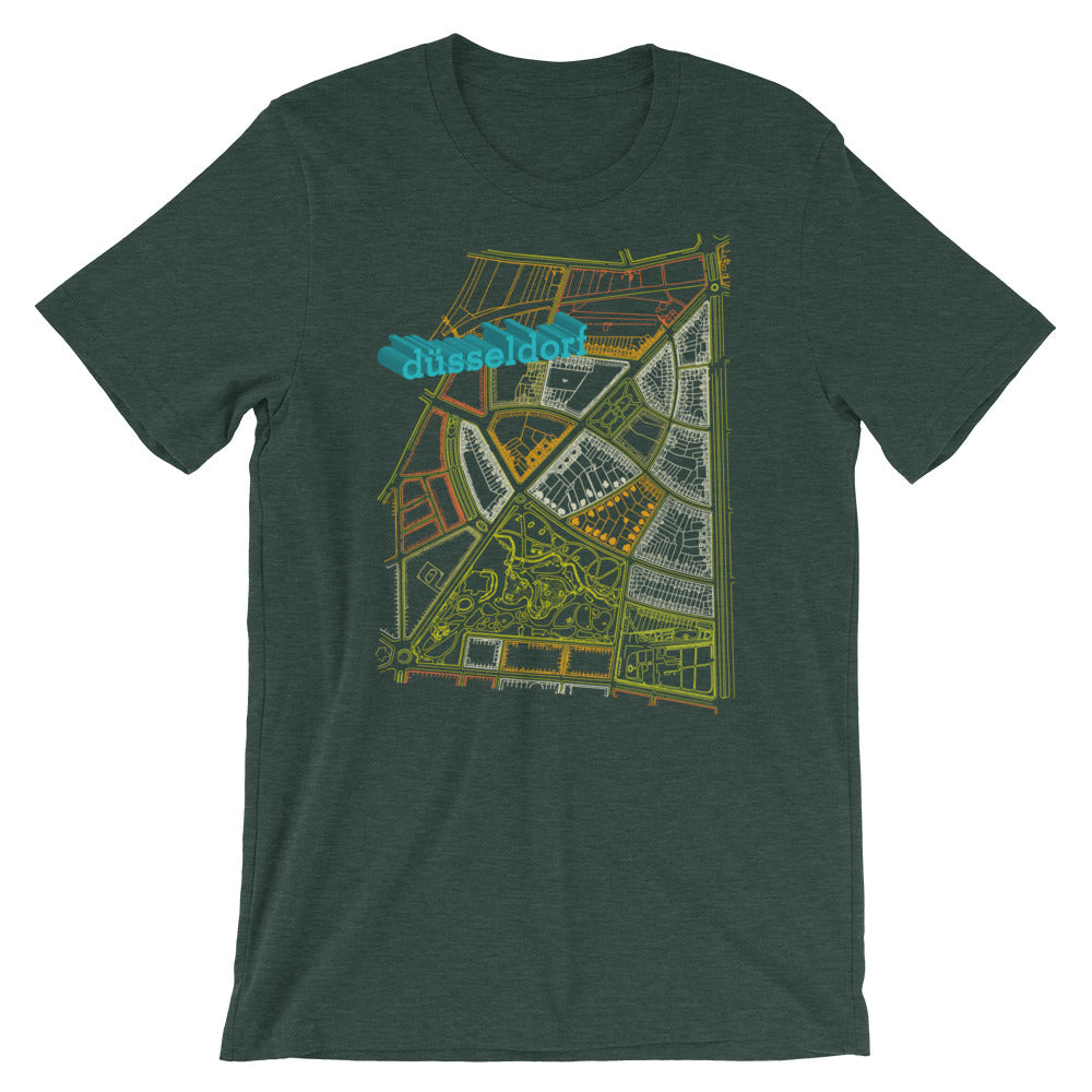 Düsseldorf German Map Tshirt Retro City Graphic Tee - babbletees