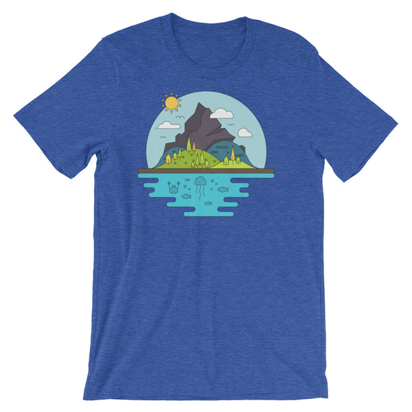 Tree Islands Infographic Tee Mountain Adventure Sport Geometric Graphic Short-Sleeve Unisex T-Shirt - babbletees