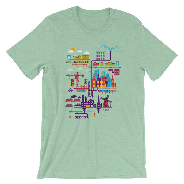 Industrial Ecology Infographic City Map Tshirt mint babbletees