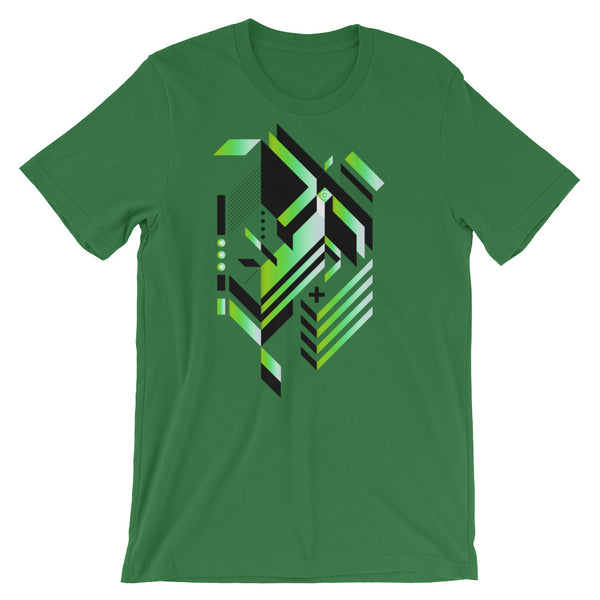 Isometric Art T-shirt Geometric Shapes Minimal Abstract Graphic Art trendy Polygon Cool Gift Futuristic Short-Sleeve Unisex T-Shirt green babbletees