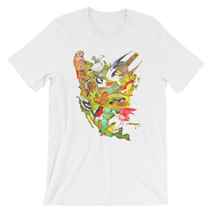 Birds of North America T-shirt Colorful Vintage Audubon Bird Illustration Graphic Tee white babbletees