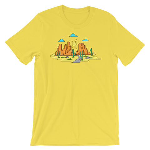 Desert Landscape Infographic Polygon Art Arizona Graphic Unisex T-Shirt - babbletees