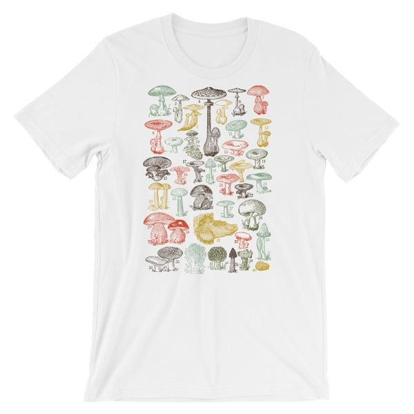 Mushrooms T-shirt Vintage Fungi illustration Graphic Tee Short-Sleeve Unisex T-Shirt - babbletees