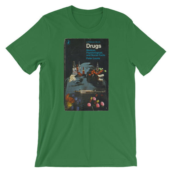 Drugs T-shirt 1960s Mid-Century Graphic Book Cover Tee Short-Sleeve Unisex T-Shirt - babbletees