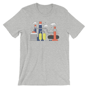 Chemistry T-shirt Science Infographic Factory Graphic Tee Geometric Polygon IndustrialShapes Short-Sleeve Unisex T-Shirt - babbletees