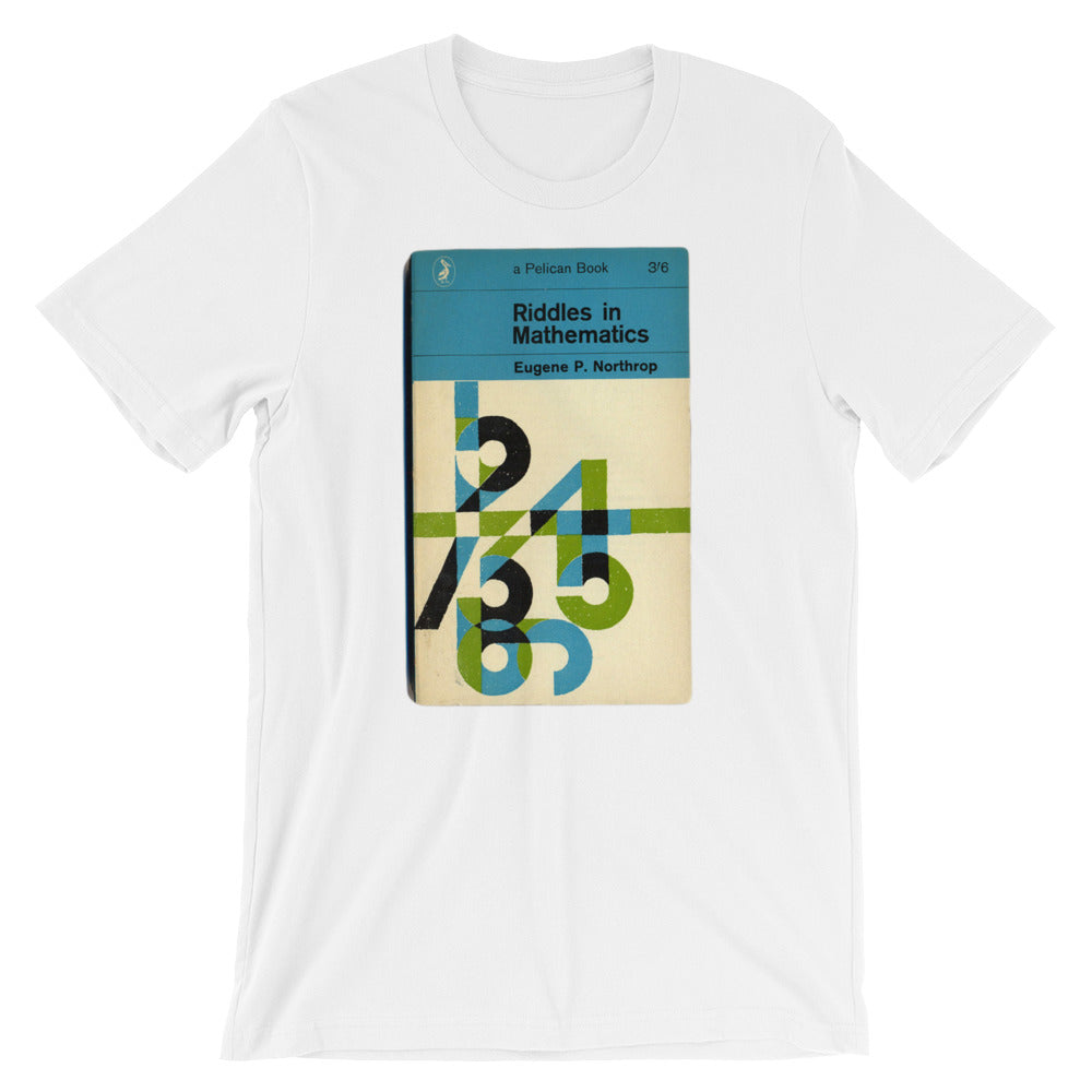 Math T-shirt Riddles in Mathematics Retro Book Cover Vintage Science Graphic Geek Tee Short-Sleeve Unisex T-Shirt babbletees white