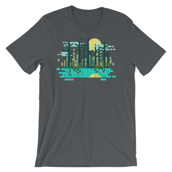 Swamp Graphic Tee Geometric Art Gift Geometric shapes Forest Trees Moon Water Short-Sleeve Unisex T-Shirt - babbletees