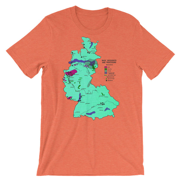 Mid Century West Germany Resources Map Graphic Tee Shirt 1960s Graphic Design Map Shirts European Teeshirt Short-Sleeve Unisex T-Shirt
