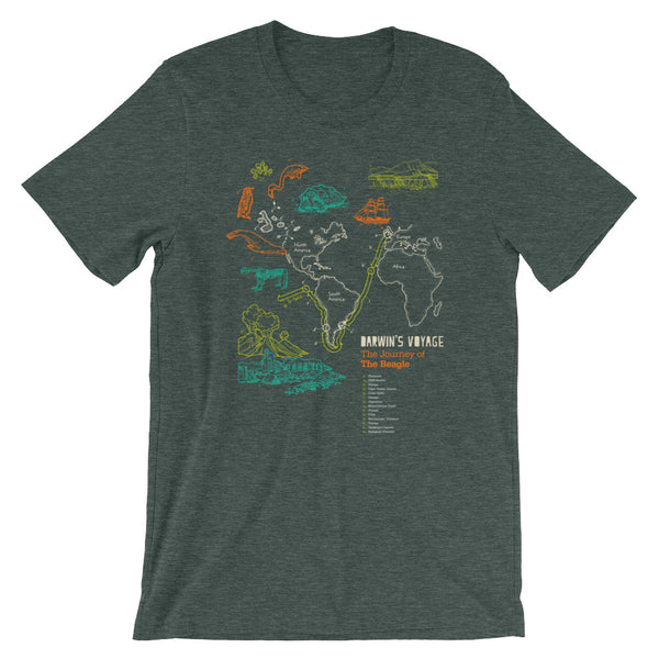 Charles Darwin's T-shirt Evolution Map Tee of Vintage Science Expedition green babbletees