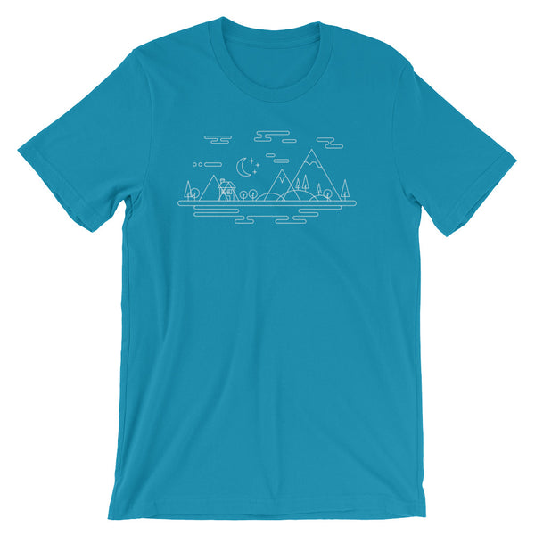 The Great Outdoors Tshirt Adventure with Trees Mountains Retro Graphic Geometric Style Minimal Art Geek Gift Short-Sleeve Unisex T-Shirt