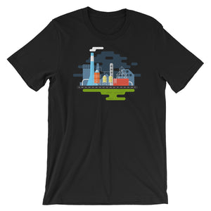 Industrial Infographic T-shirt Graphic Design Geometric Isometric Artsy Geek Gift Short-Sleeve Unisex T-Shirt - babbletees