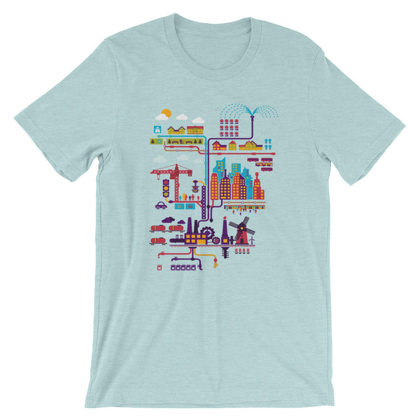 Industrial Ecology Infographic City Map Tshirt lt blue babbletees