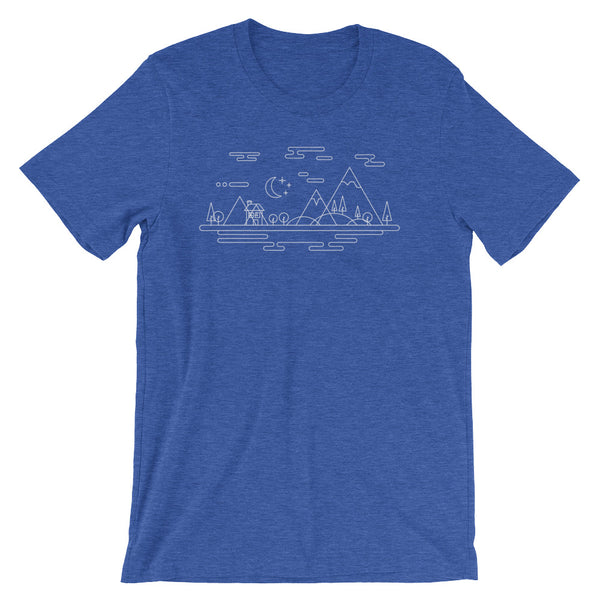 The Great Outdoors Tshirt Adventure with Trees Mountains Retro Graphic Geometric Style Minimal Art Geek Gift Short-Sleeve Unisex T-Shirt - babbletees