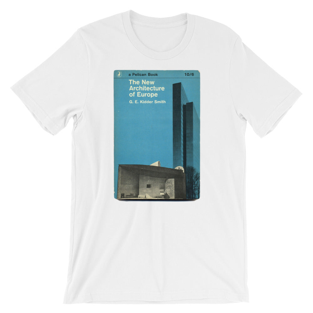 The New Architecture of Europe T-shirt Mid-Century Book Cover Graphic Tee Short-Sleeve Unisex T-Shirt - babbletees