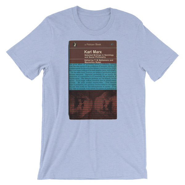 Karl Marx Political T-shirt Retro Communism Manifesto Artwork Midcentury Graphic Tee Short-Sleeve Unisex T-Shirt blue babbletees