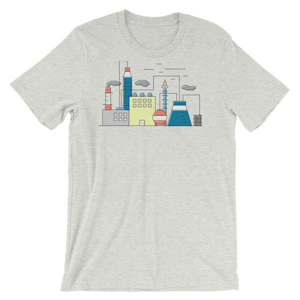 Nuclear Science Tshirt Power Plant Infographic Minimal Graphic Design Tee Industrial Diagram Short-Sleeve Unisex T-Shirt - babbletees