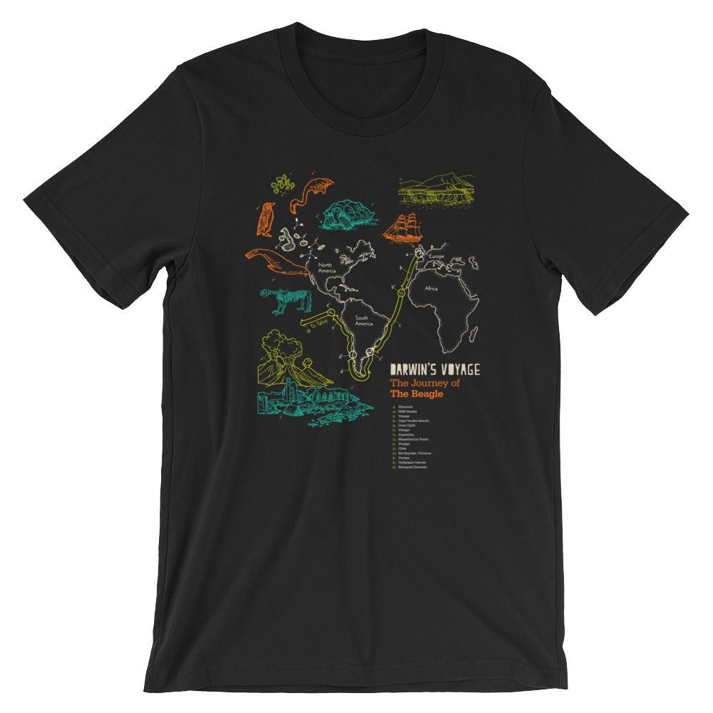 Charles Darwin's T-shirt Evolution Map Tee of Vintage Science Expedition - babbletees