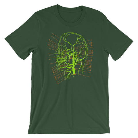 Brain Anatomy T-shirt Vintage Science Illustration of Skull Map Graphic Tee