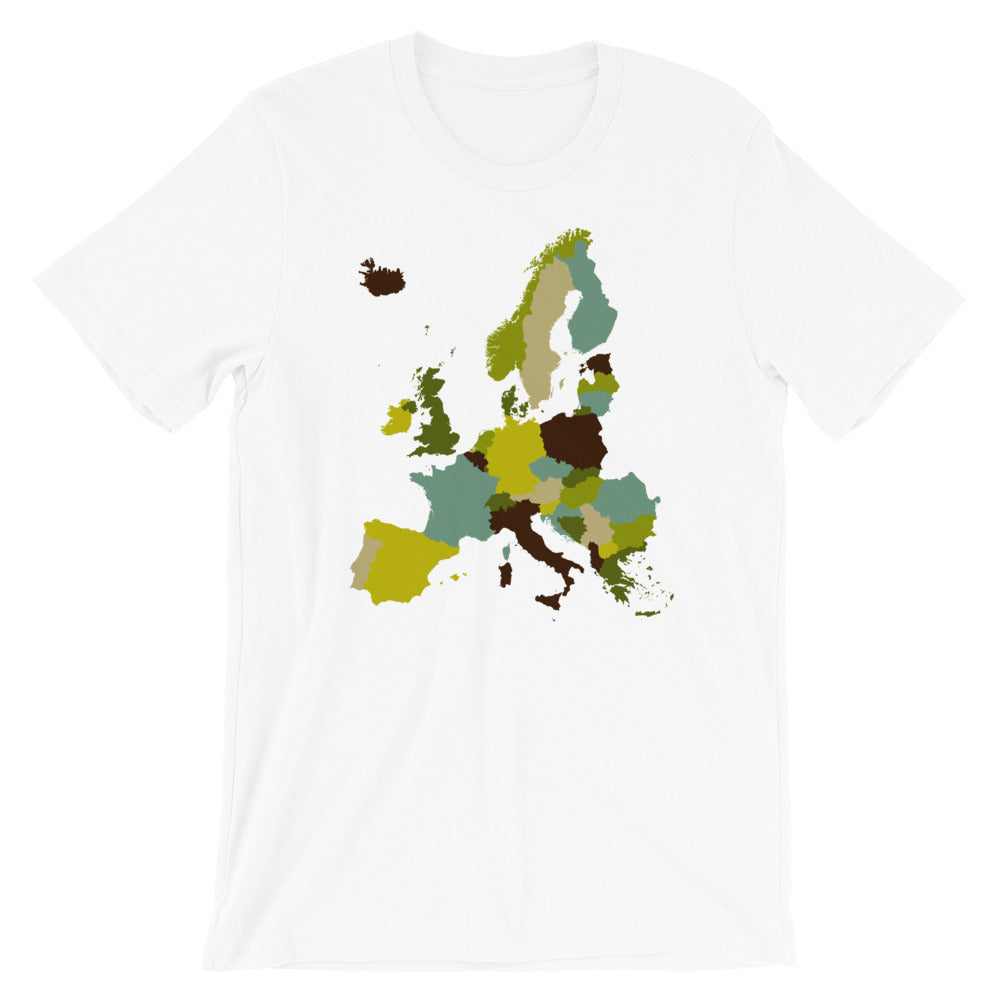 Europe Map T-shirt Neutral Earth Tones - babbletees