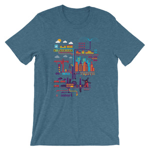Industrial Ecology Infographic City Map T-shirt blue babbletees