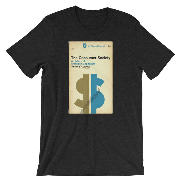 Mid Century Graphic Design Tshirt The Consumer Society Vintage Science Penguin Book Cover artwork Short-Sleeve Unisex T-Shirt brown babbletees