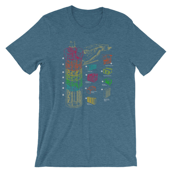 Nuclear War T-shirt Missile Silo Diagram Rainbow Print Graphic Tee - babbletees