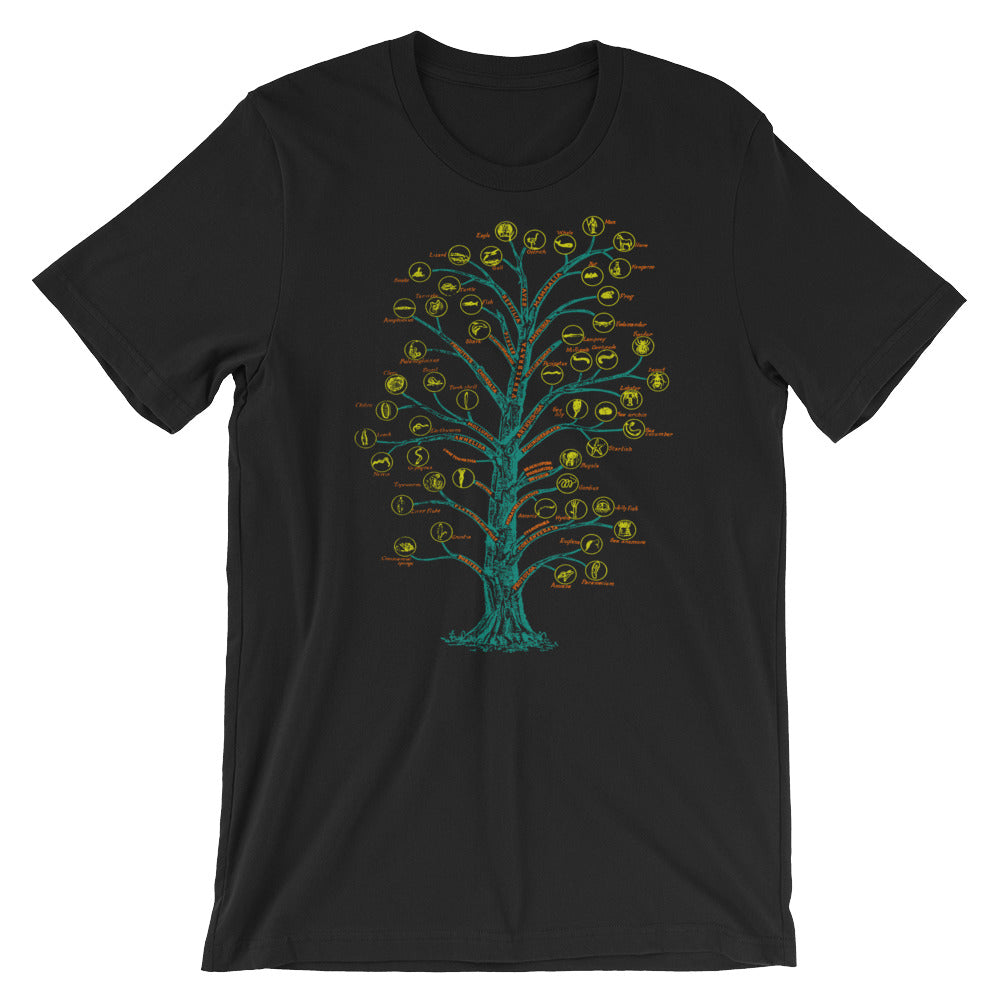 Evolution T-shirt Tree of Life Graphic Science Chart T-shirt black babbletees
