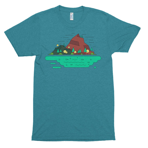 Water Forest Mountain Graphic Tee Trendy Polygon Landscape Modern Geometric Art American Apparel Tri-Blend Cool Gift Short sleeve soft t-shi - babbletees