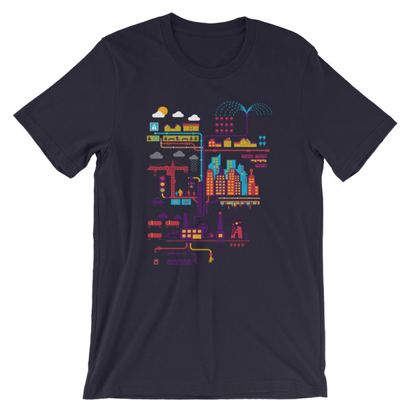 Industrial Ecology Infographic City Map Tshirt black babbletees