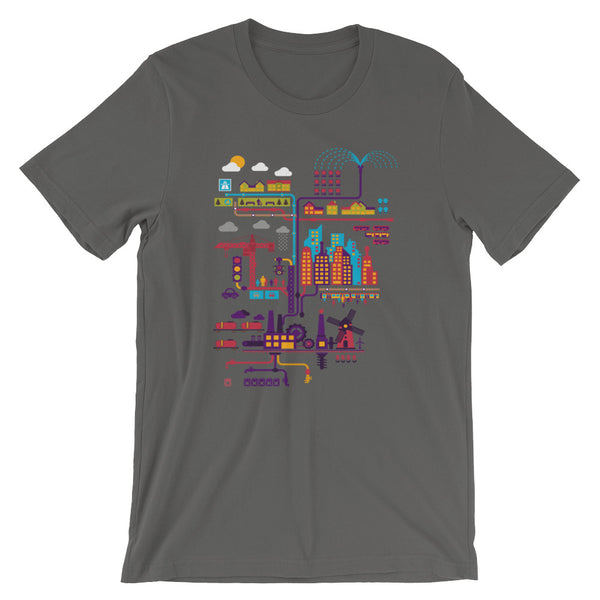 Industrial Ecology Infographic City Map Tshirt grey babbletees