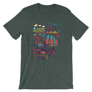 Industrial Ecology Infographic City Map Tshirt heather green babbletees