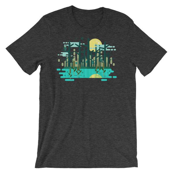 Swamp Graphic Tee Geometric Art Gift Geometric shapes Forest Trees Moon Water Short-Sleeve Unisex T-Shirt
