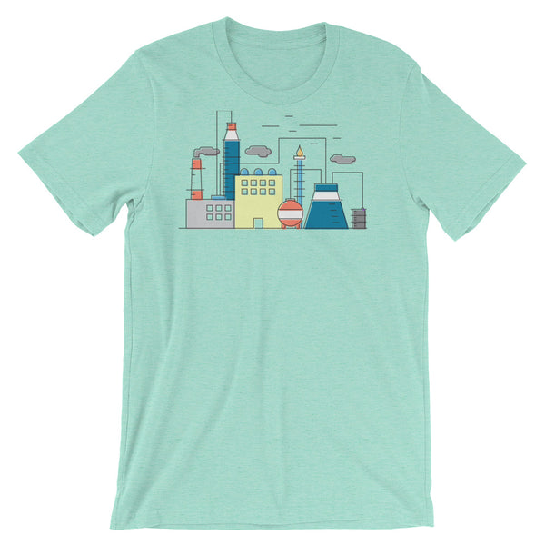 Nuclear Science Tshirt Power Plant Infographic Minimal Graphic Design Tee Industrial Diagram Short-Sleeve Unisex T-Shirt