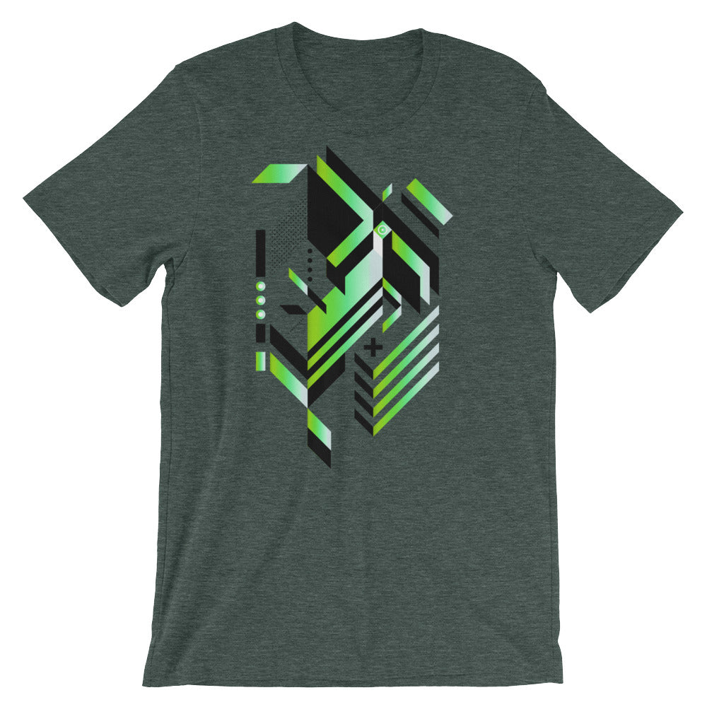 Isometric Art T-shirt Geometric Shapes Minimal Abstract Graphic Art trendy Polygon Cool Gift Futuristic Short-Sleeve Unisex T-Shirt grey babbletees