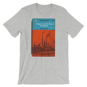 Religion T-shirt Rise of Capitalism Retro Book Cover Mid-Century Graphic Design Smokestacks Short-Sleeve Unisex T-Shirt