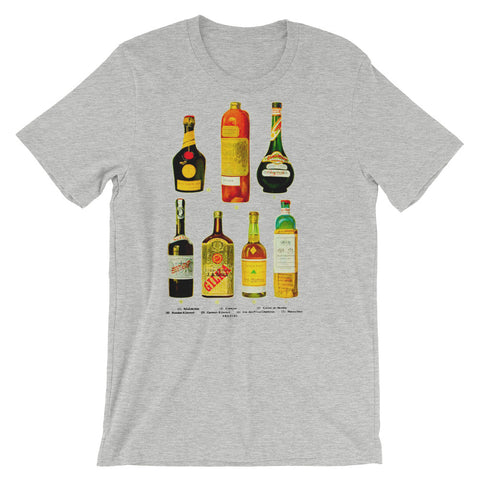 Alcoholics Anonymous Vintage Liquor Bottles Short-Sleeve Unisex T-Shirt Whiskey Vodka Booze Drinking Tee