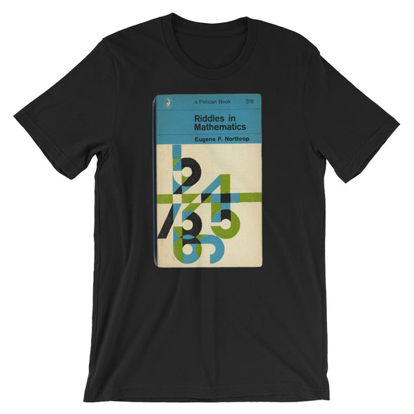 Math T-shirt Riddles in Mathematics Retro Book Cover Vintage Science Graphic Geek Tee Short-Sleeve Unisex T-Shirt black babbletees