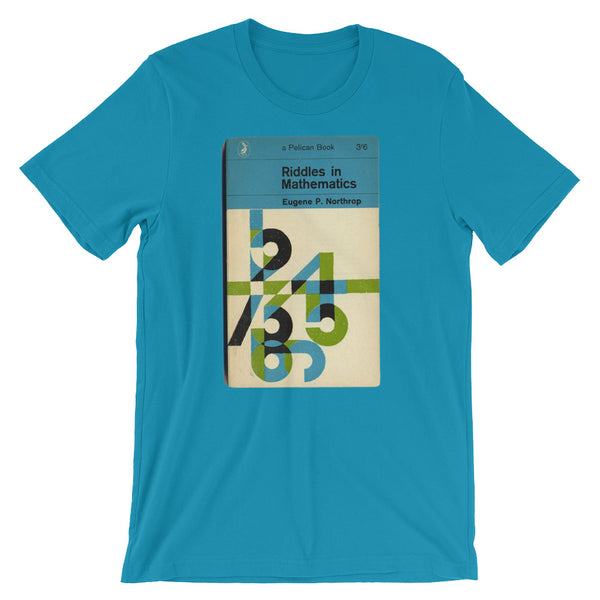 Math T-shirt Riddles in Mathematics Retro Book Cover Vintage Science Graphic Geek Tee Short-Sleeve Unisex T-Shirt babbletees aqua