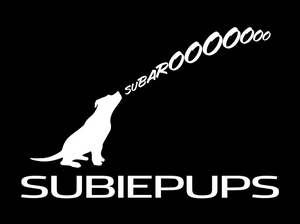 SubiePups Pit Bull howler window decal Subaru