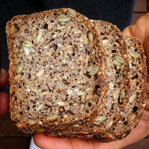Seedy Spelt Sprouted Rye Sourdough Loaf