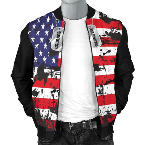 Image of American Flags and Tags Men's Grunge Bomber Jacket - WearItArt - Jacket