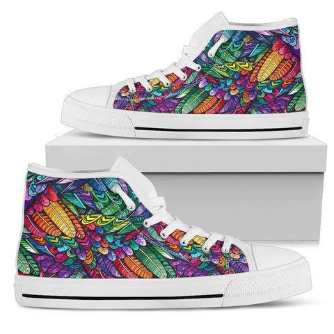 Artistic Bird Feathers Women's High Top Shoes - WearItArt - shoes