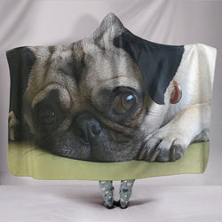 Beige Lounging Pug Hooded Blanket - WearItArt - Hooded Blanket
