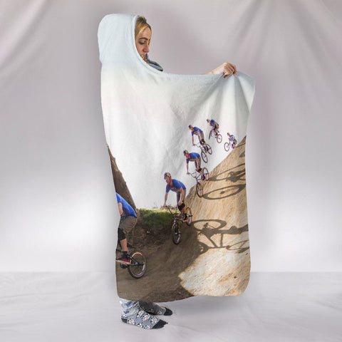 Image of Bicycles in Motion Hooded Blanket - WearItArt - Hooded Blanket