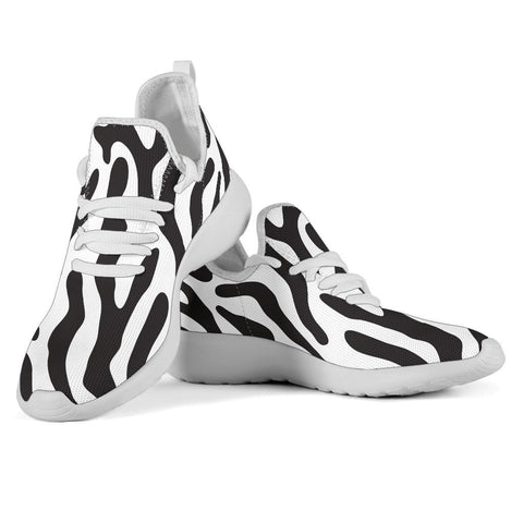 Image of Black and White Animal Pattern Mesh Knit Sneakers - WearItArt - shoes