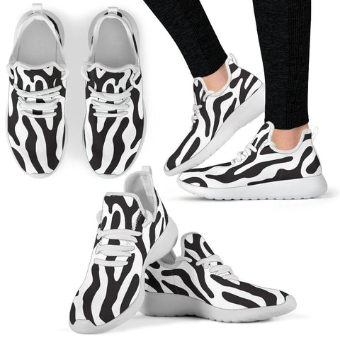 Black and White Animal Pattern Mesh Knit Sneakers - WearItArt - shoes
