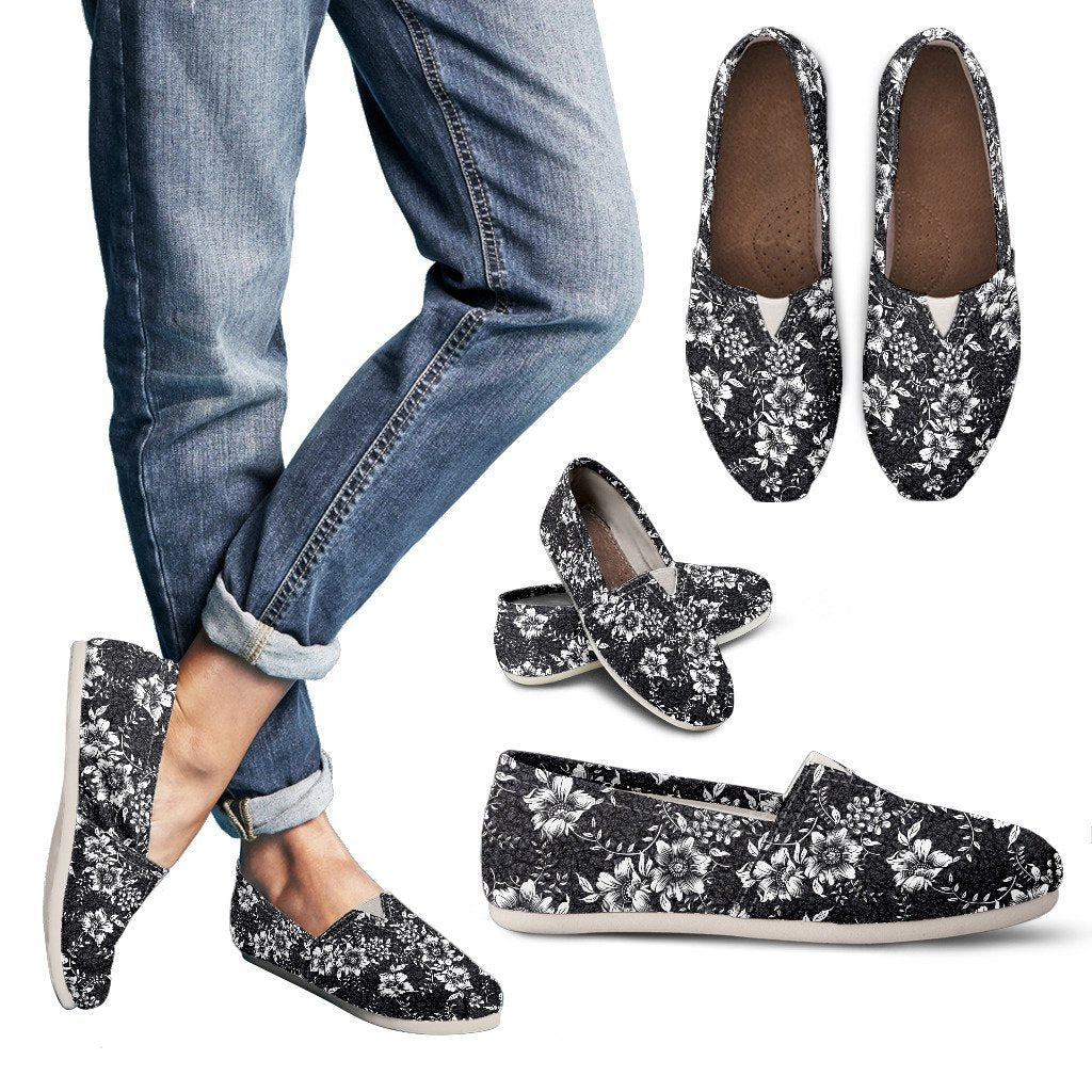 Black Flowers - Women's Casual Shoes - WearItArt - Casual Shoes